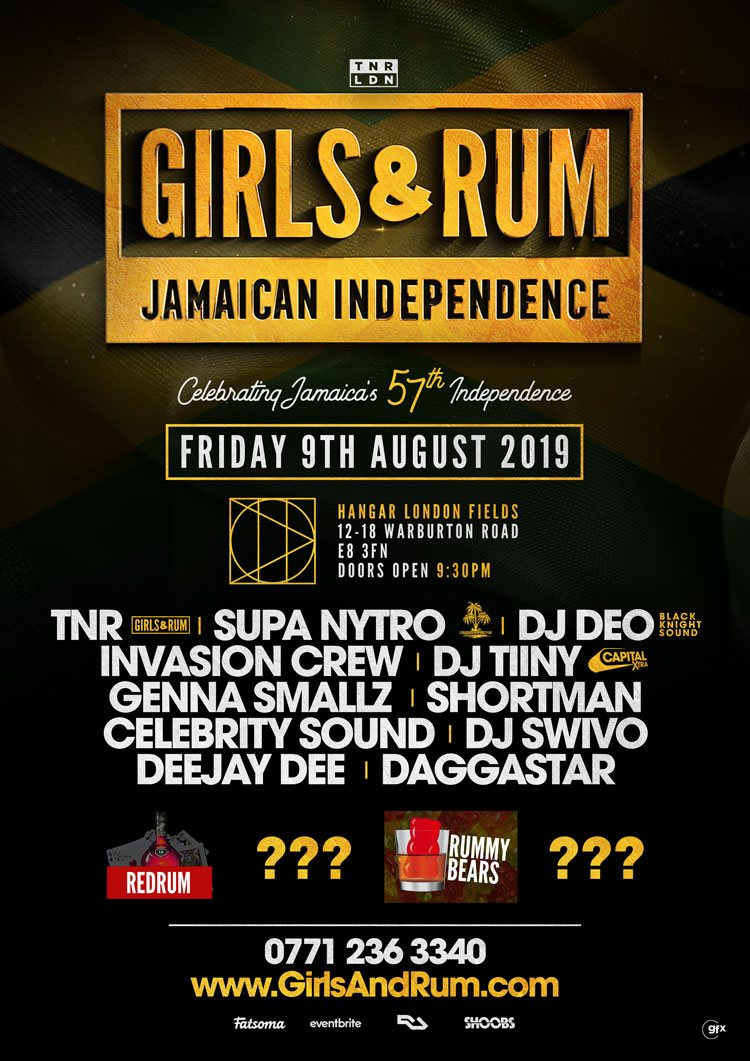 Girls and Rum - Jamaican Independence - Flyer front