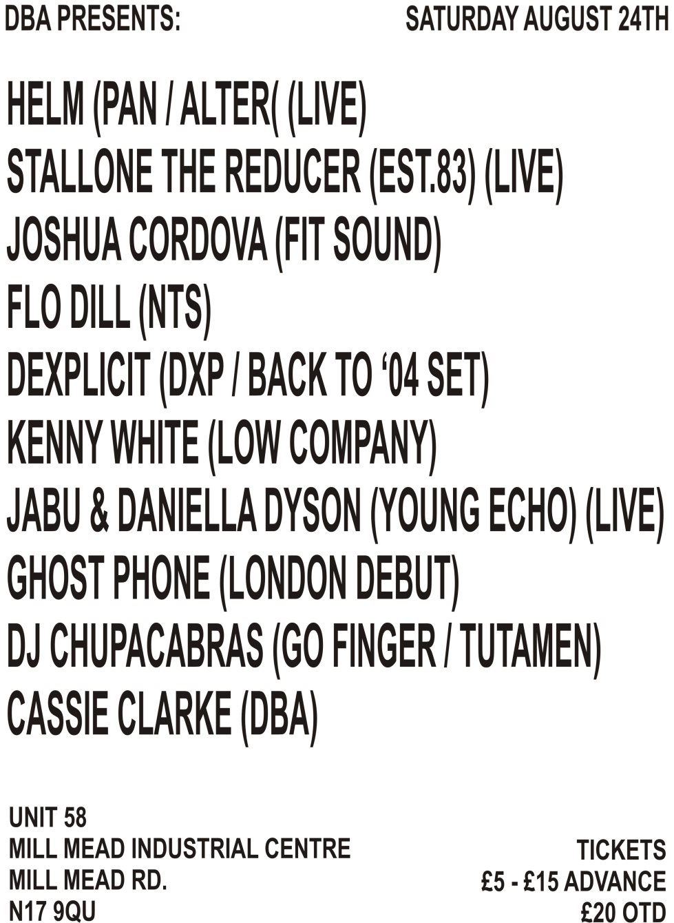 DBA presents... Helm (Live), Stallone The Reducer (Live), Flo Dill and Joshua Cordova - Flyer front