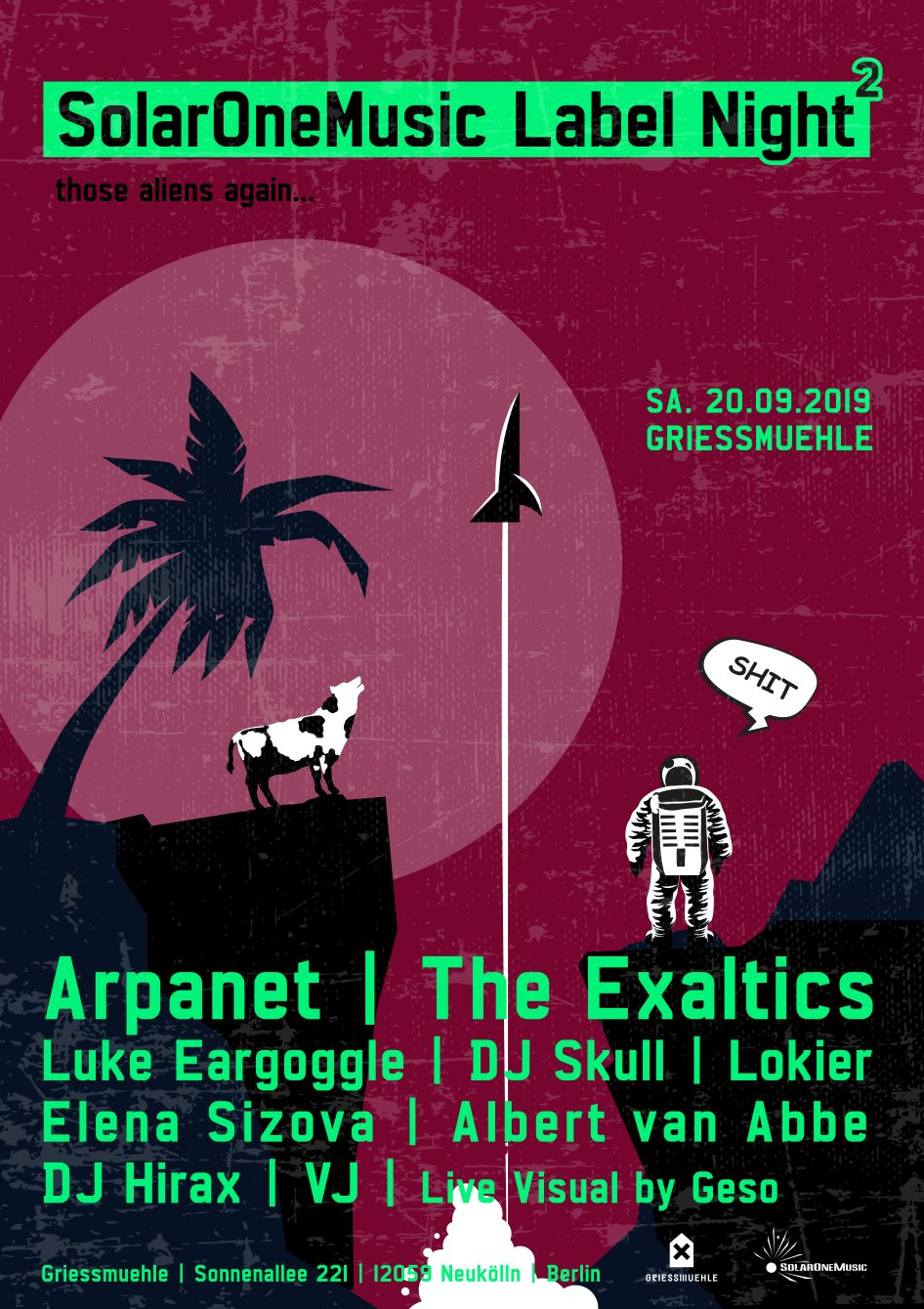Solar One Music Label Night with Arpanet, The Exaltics, DJ Skull, Lokier & More - Flyer front