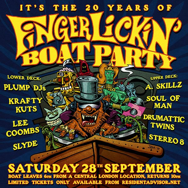 20 Years of Finger Lickin Boat Party - Flyer front