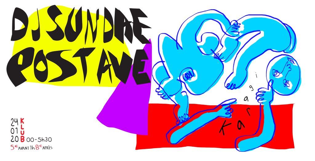 Karagi → DJ Sundae ಏ Post Ave - Flyer front