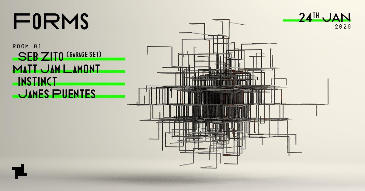 Forms: Seb Zito (Garage Set), Matt Jam Lamont, Instinct & James Puentes - Flyer front
