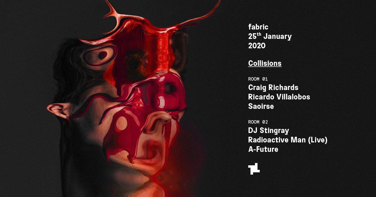Collisions: Craig Richards, Ricardo Villalobos & DJ Stingray - Flyer front