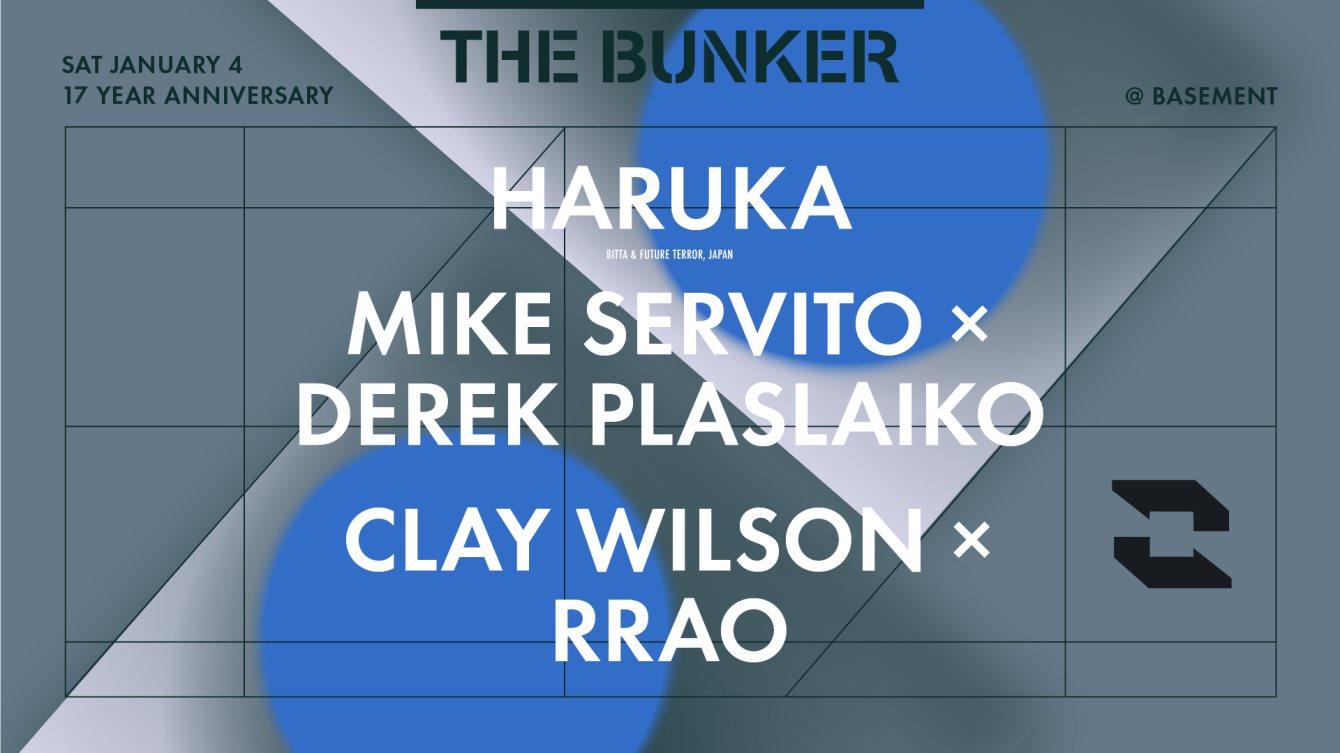 The Bunker with Haruka / Mike Servito x Derek Plaslaiko / Clay Wilson x rrao - Flyer front