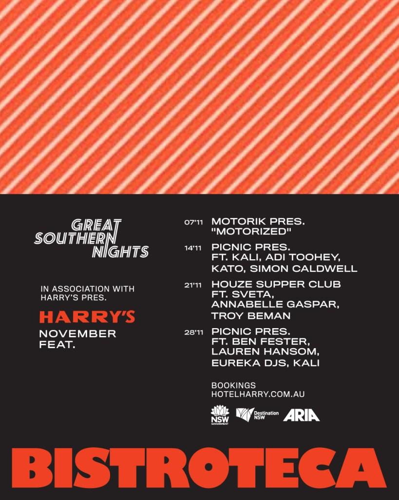 Harry's Bistroteca & Great Southern Nights. Picnic Pres. Ft Kali, Adi Toohey, Kato, Simon Caldw - Flyer front