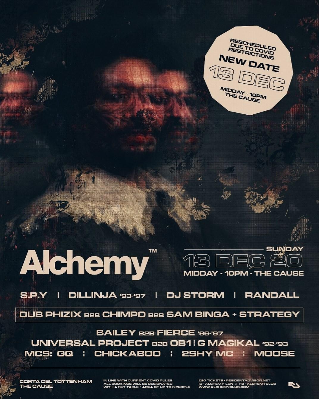 [RESCHEDULED] Alchemy ft S.P.Y, Dillinja, Dub Phizix, Chimpo, Randall, DJ Storm, Bailey, Fierce - Flyer front