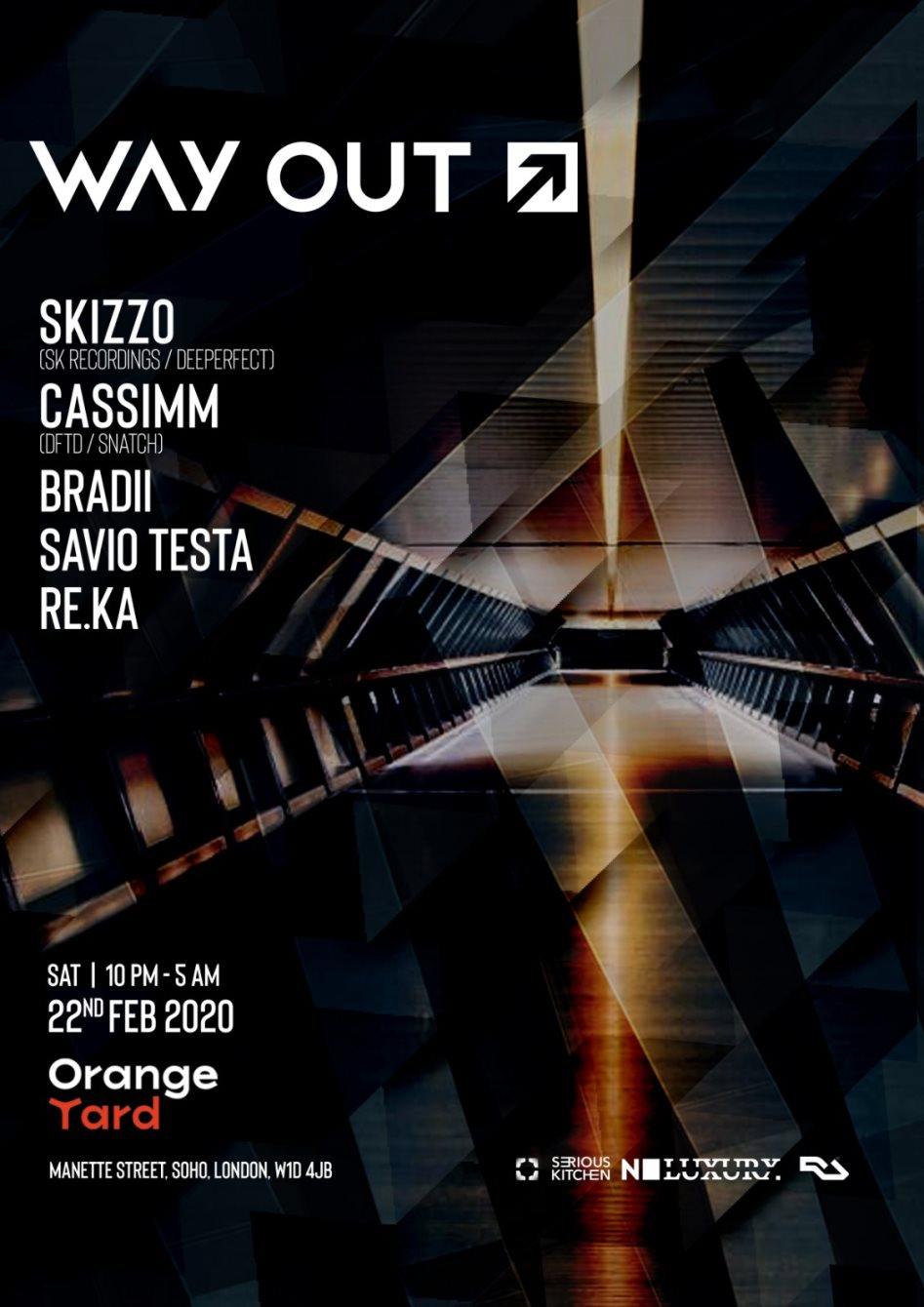 Way Out with Skizzo (SK Recordings), CASSIMM - Flyer front
