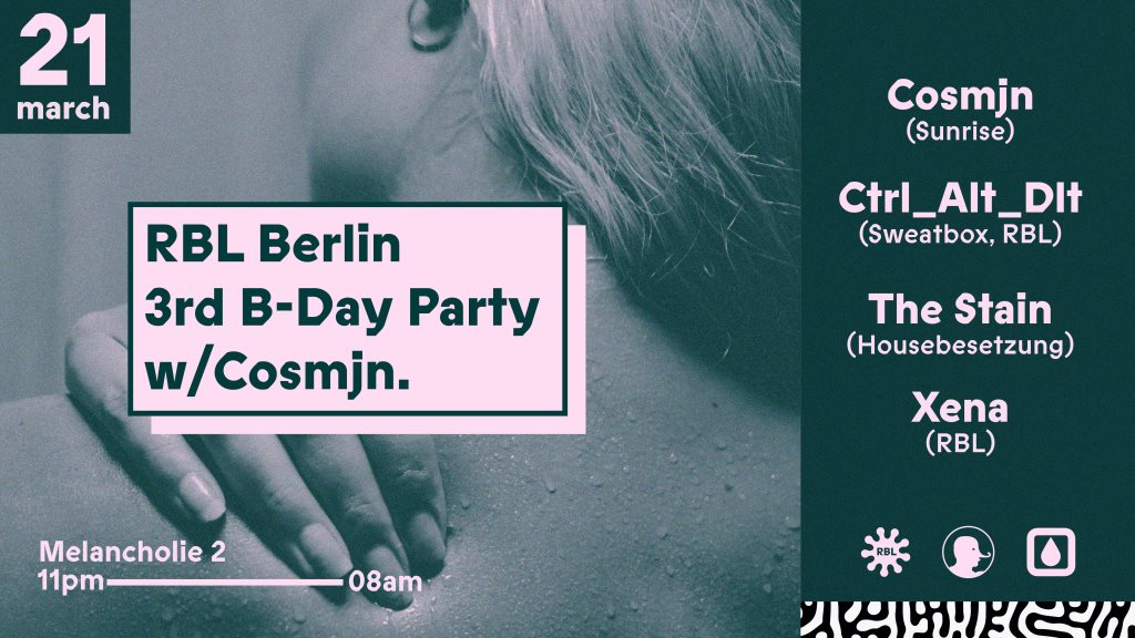 3 Years of RBL Berlin with Cosmjn & Sweatbox - Flyer front