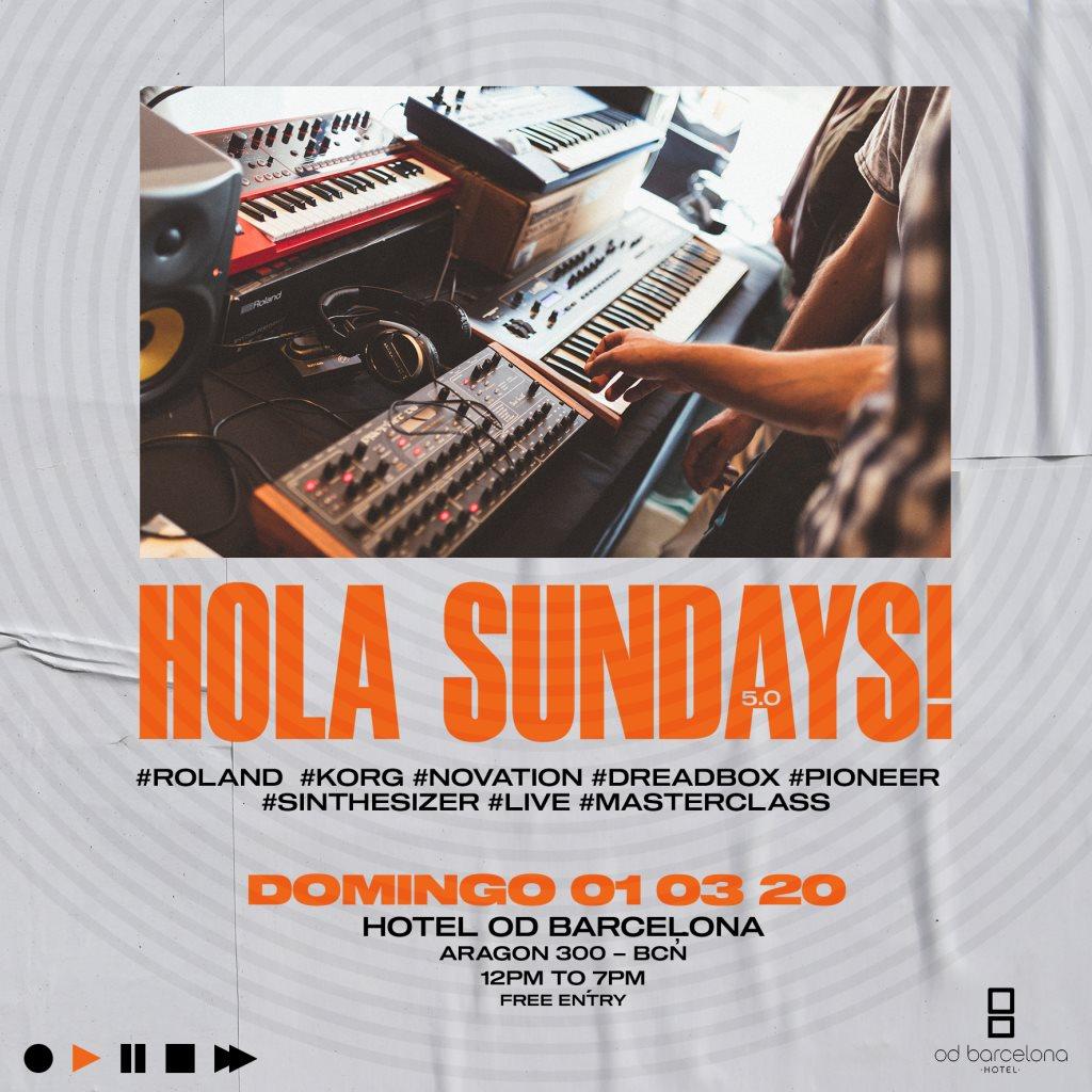 II Synthesizer Market - Hola Sundays! with Korg, Roland, Dreadbox - Flyer front