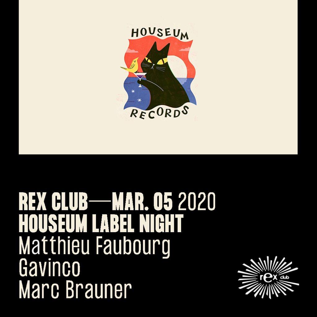 Houseum Label Night: Matthieu Faubourg, Gavinco, Marc Braumer - Flyer front