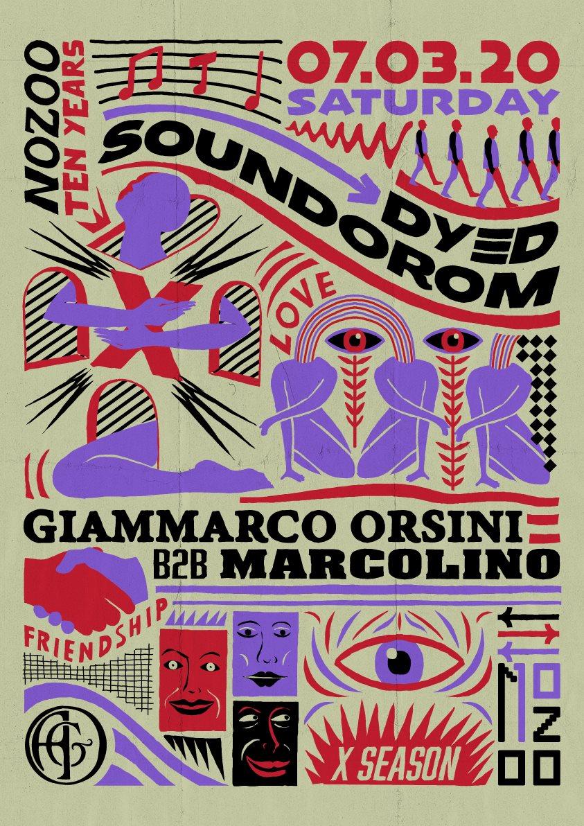 [CANCELLED] Nozoo: Dyed Soundorom, Giammarco Orsini b2b Marcolino - Flyer back