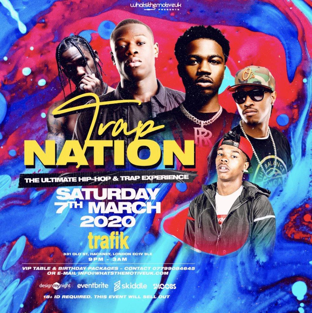 Trap Nation - Shoreditch Hiphop & Trap Party - Flyer front