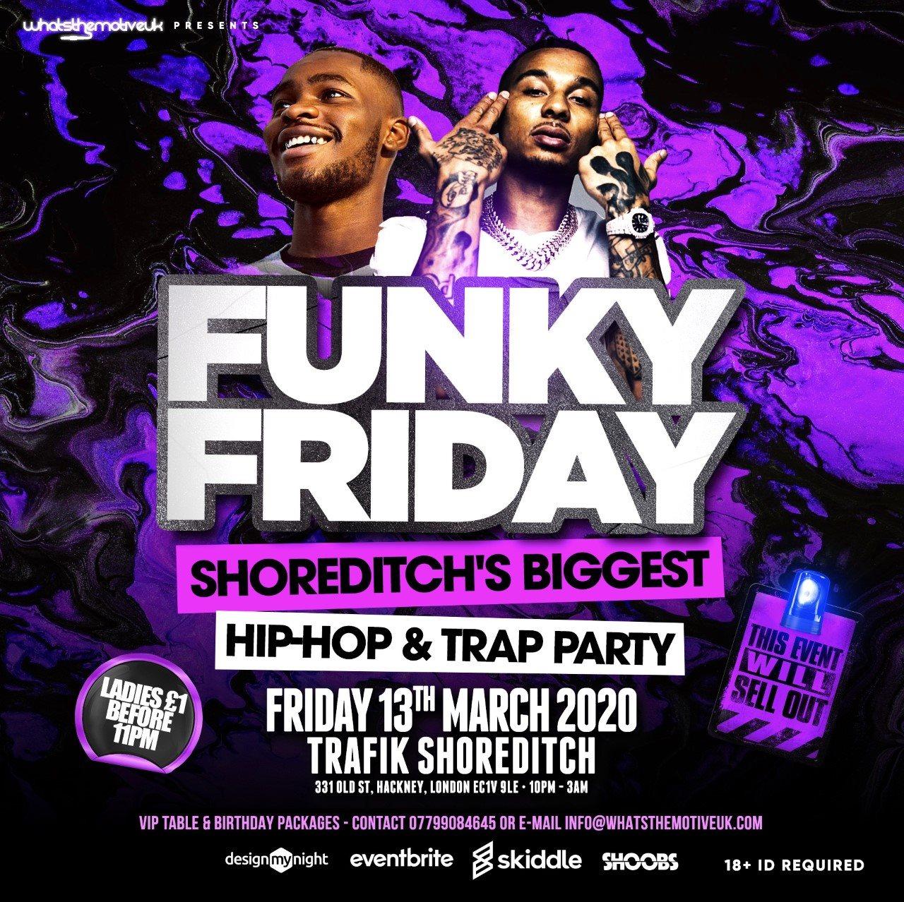 Funky Friday - Hip-Hop, Afrobeats & Bashment - Flyer front