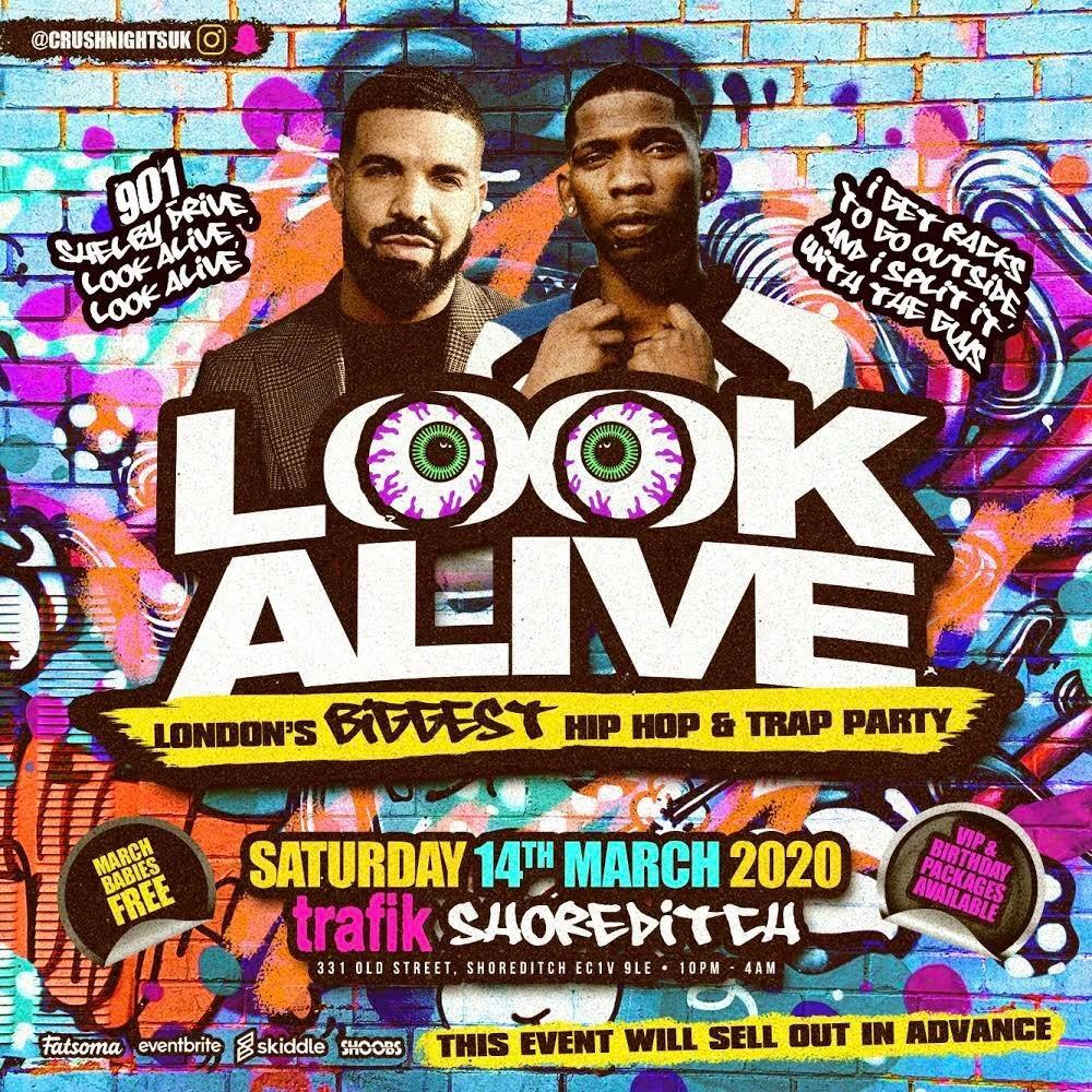 Look Alive - London's Biggest Hiphop Party - Flyer front
