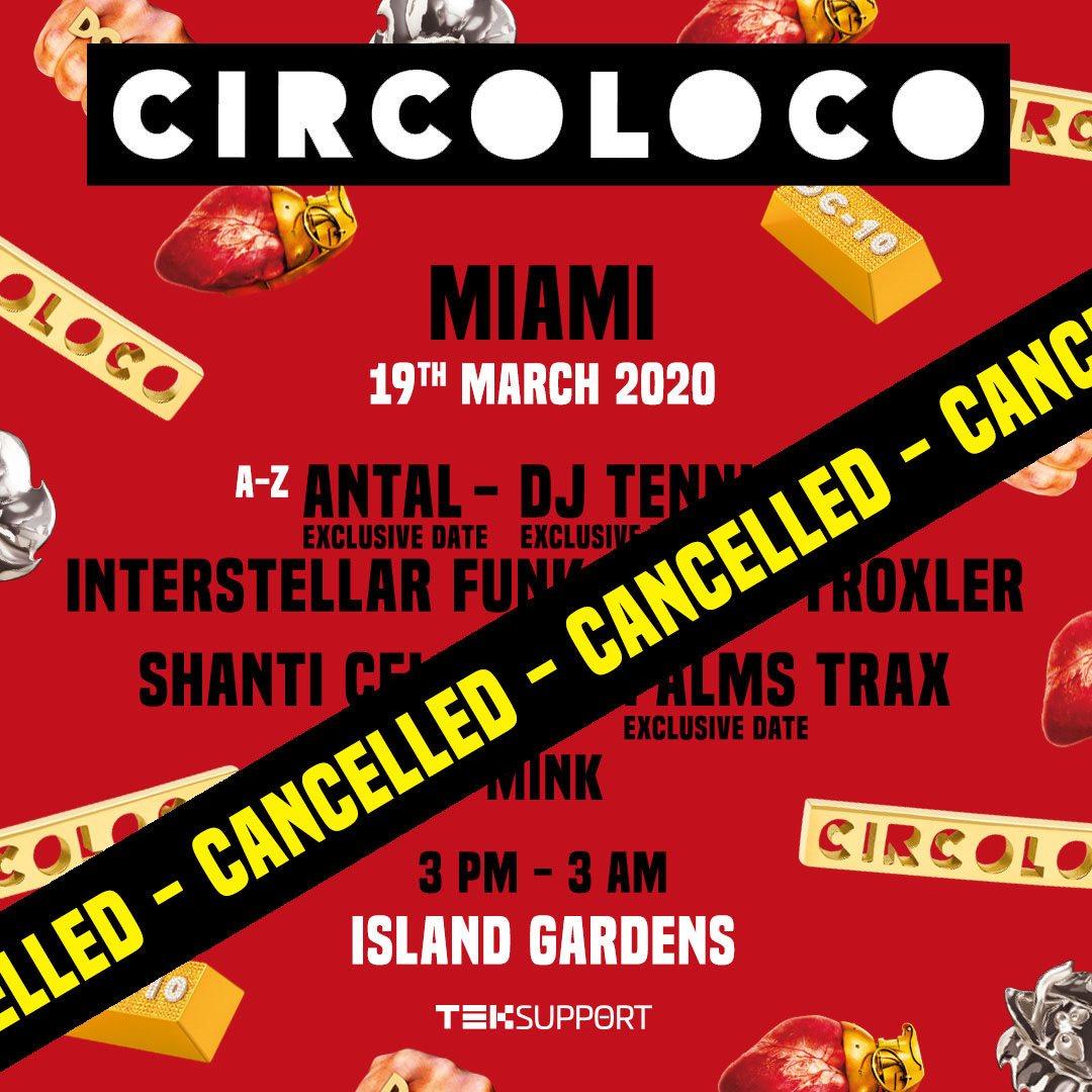 [POSTPONED] Circoloco Miami - Flyer back