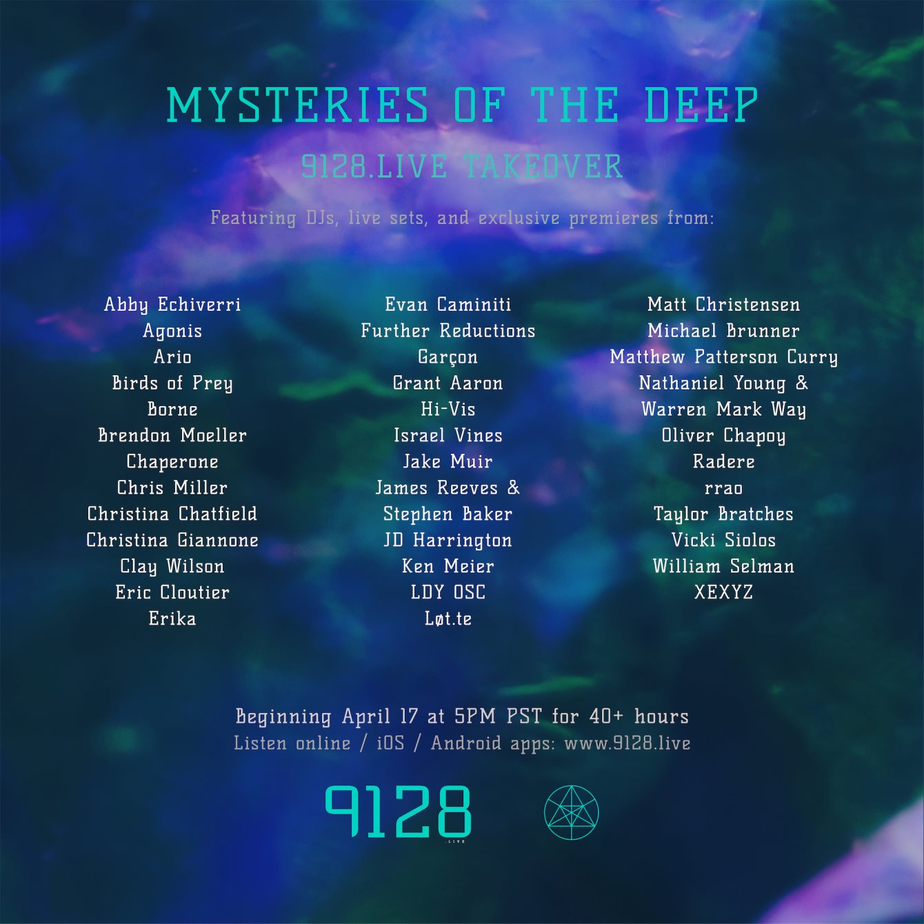 Mysteries Of The Deep – 9128.Live Weekend Takeover - Flyer front