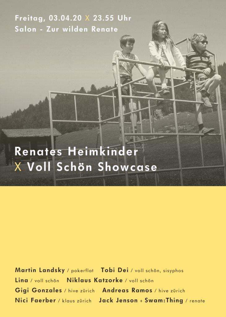 [CANCELLED] Renates Heimkinder X Voll Schön Showcase - Flyer front