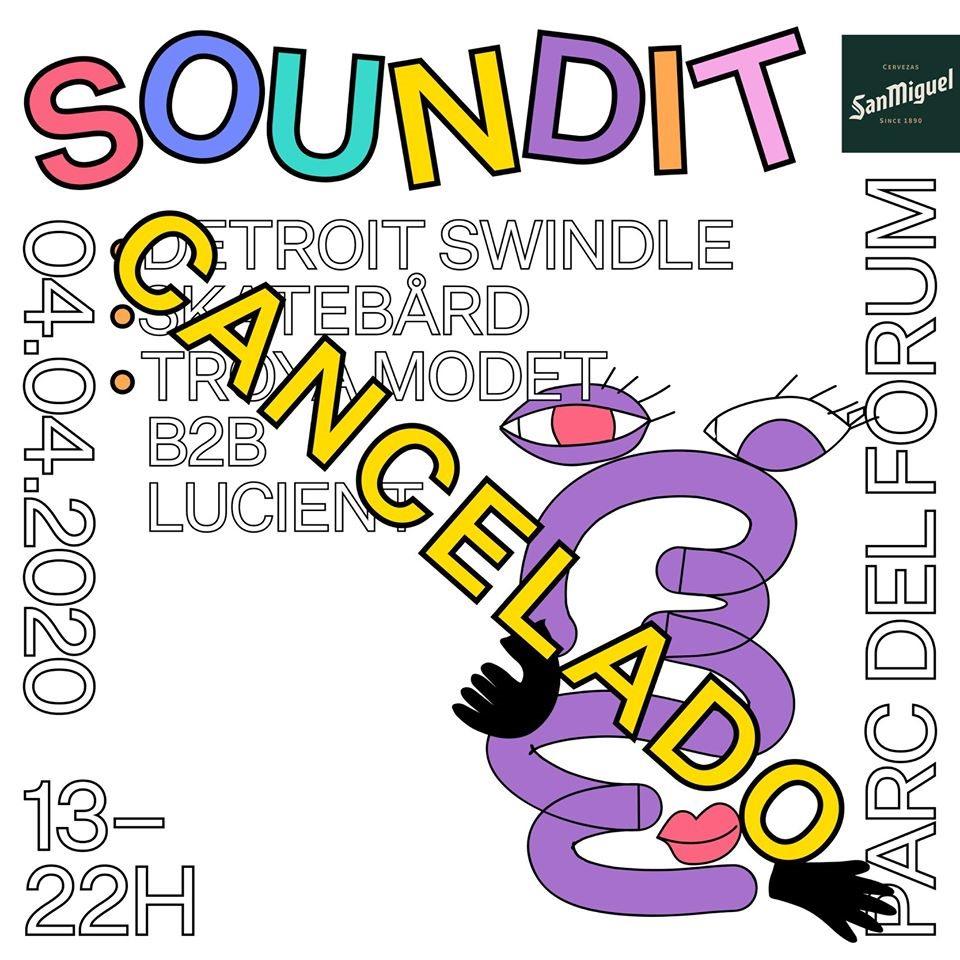 [CANCELLED] SOUNDIT: Detroit Swindle, Skatebård, Lucient b2b Troya Modet - Flyer front