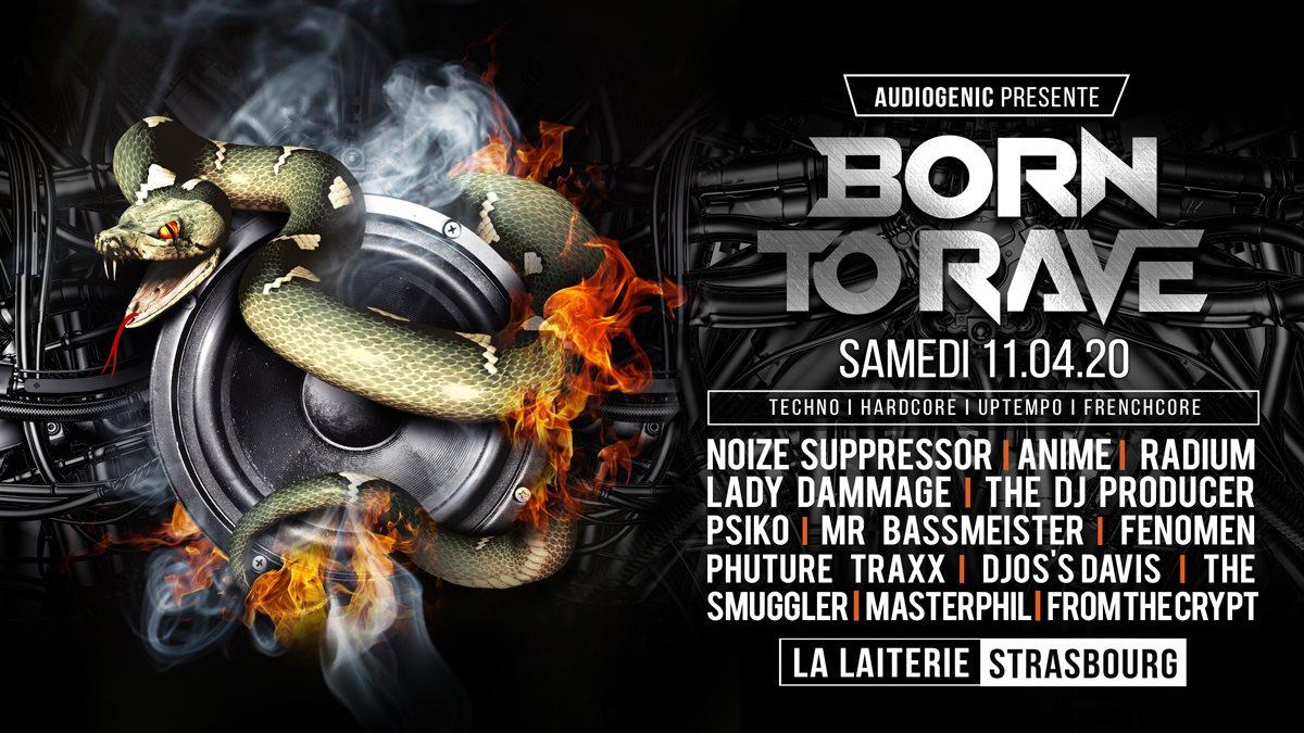 11/04/20 - Born to Rave - LA Laiterie - Strasbourg - 2 Stages - Hard Music - Flyer front