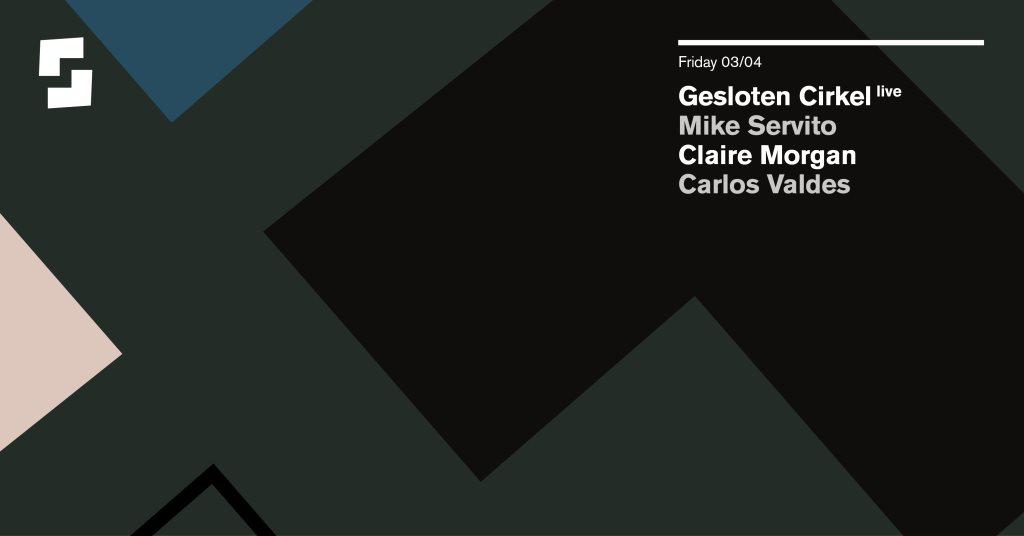 [Canceled] Shelter; Gesloten Cirkel (Live), Mike Servito, Claire Morgan, Carlos Valdes - Flyer front