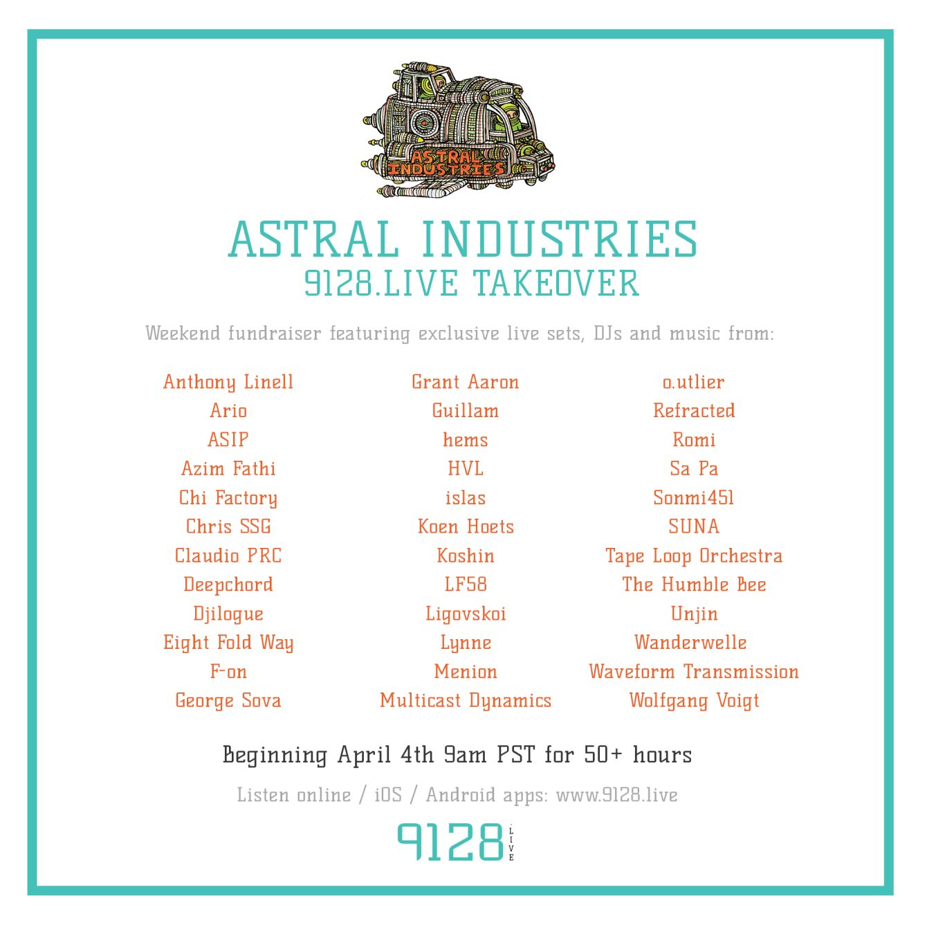 Astral Industries 9128.Live Weekend Takeover - Flyer front
