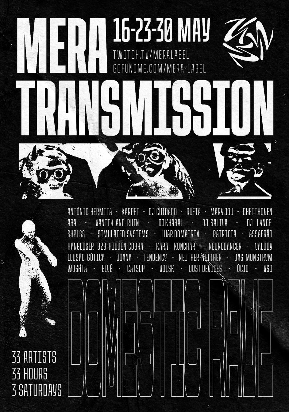 Mera Transmission - Domestic Rave - Flyer front