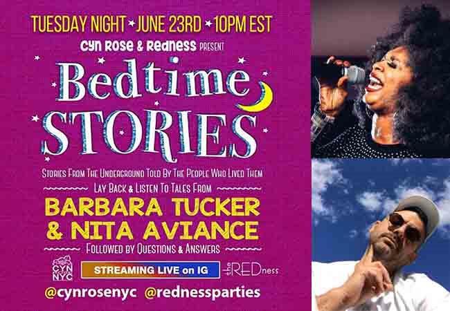 6/23-Bedtime Stories with Barbara Tucker Nita Aviance - Flyer front