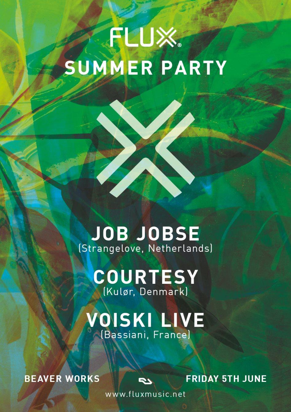 [CANCELLED] Flux Summer Party with Job Jobse, Courtesy & Voiski Live - Flyer back
