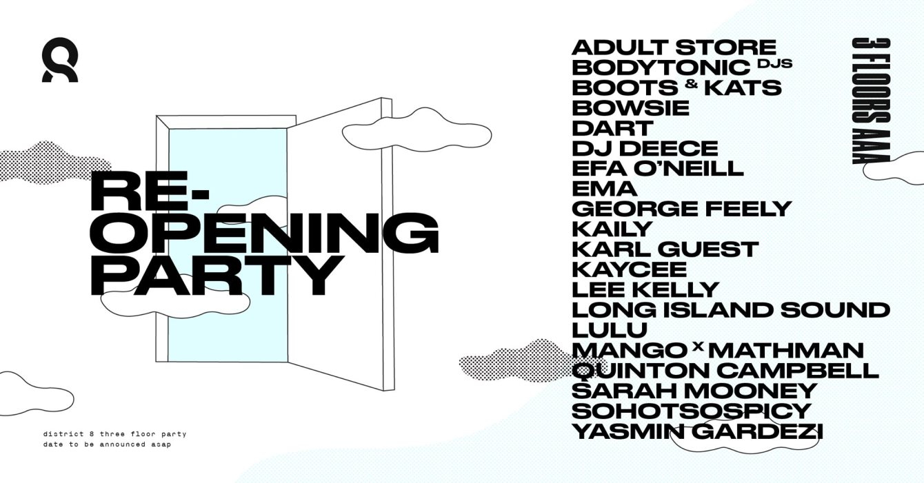 District 8 Re-Opening Party - Flyer front