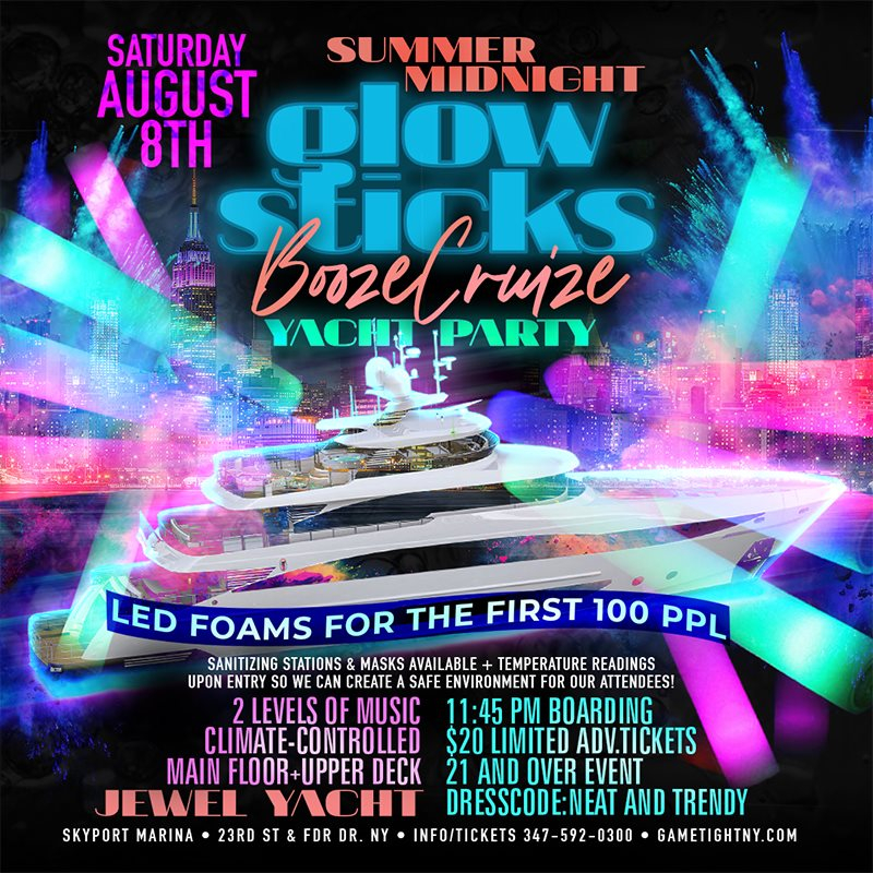 NYC Summer Midnight Blackout Booze Cruise Yacht Party Jewel Yacht - Flyer front