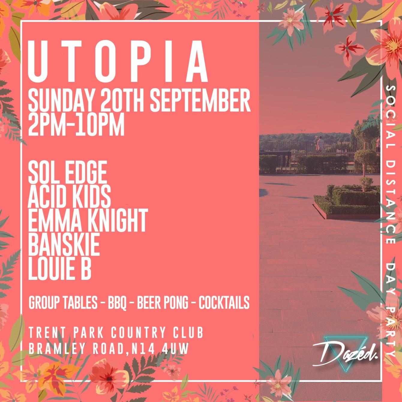 Utopia Garden Party - Flyer front