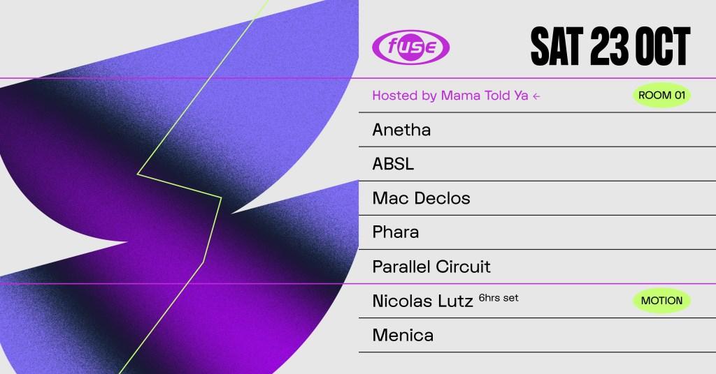Fuse presents: Mama Told Ya Night & Nicolas Lutz - Flyer front