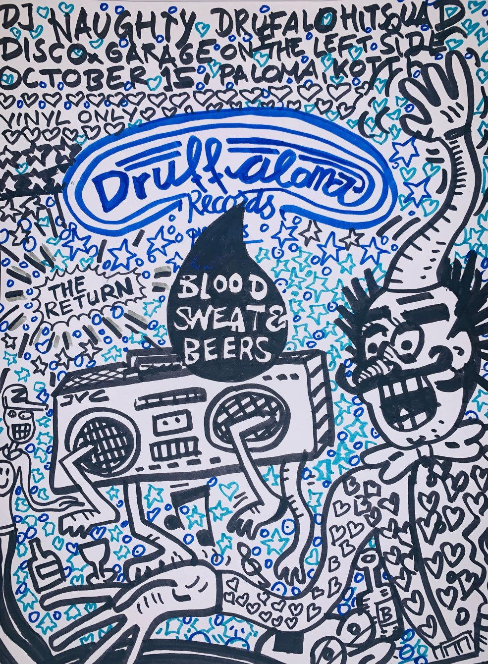 Druffaloma - Blood, Sweat & Beers - Flyer front