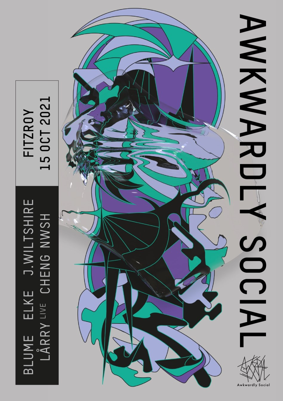 Awkwardly Social // Awk003 Record Release Party - Flyer front