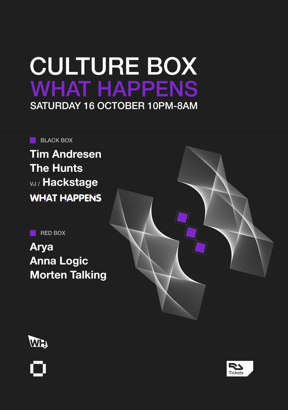 What Happens: Tim Andresen / The Hunts / Arya / Anna Logic / Morten Talking - Flyer front