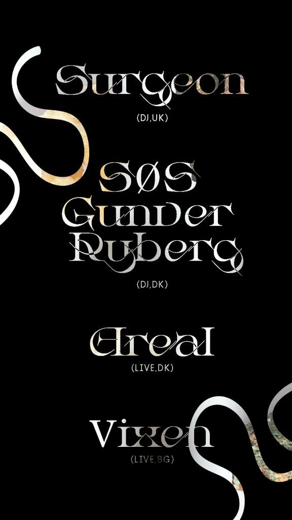 Surgeon (Live) SØS Gunver Ryberg (Live) Areal (Live) Vixen (DJ) - Flyer front