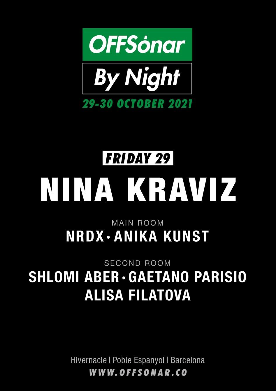 OFFSónar by Night con Nina Kraviz, Ndrx, Anika Kunst y más - Flyer front