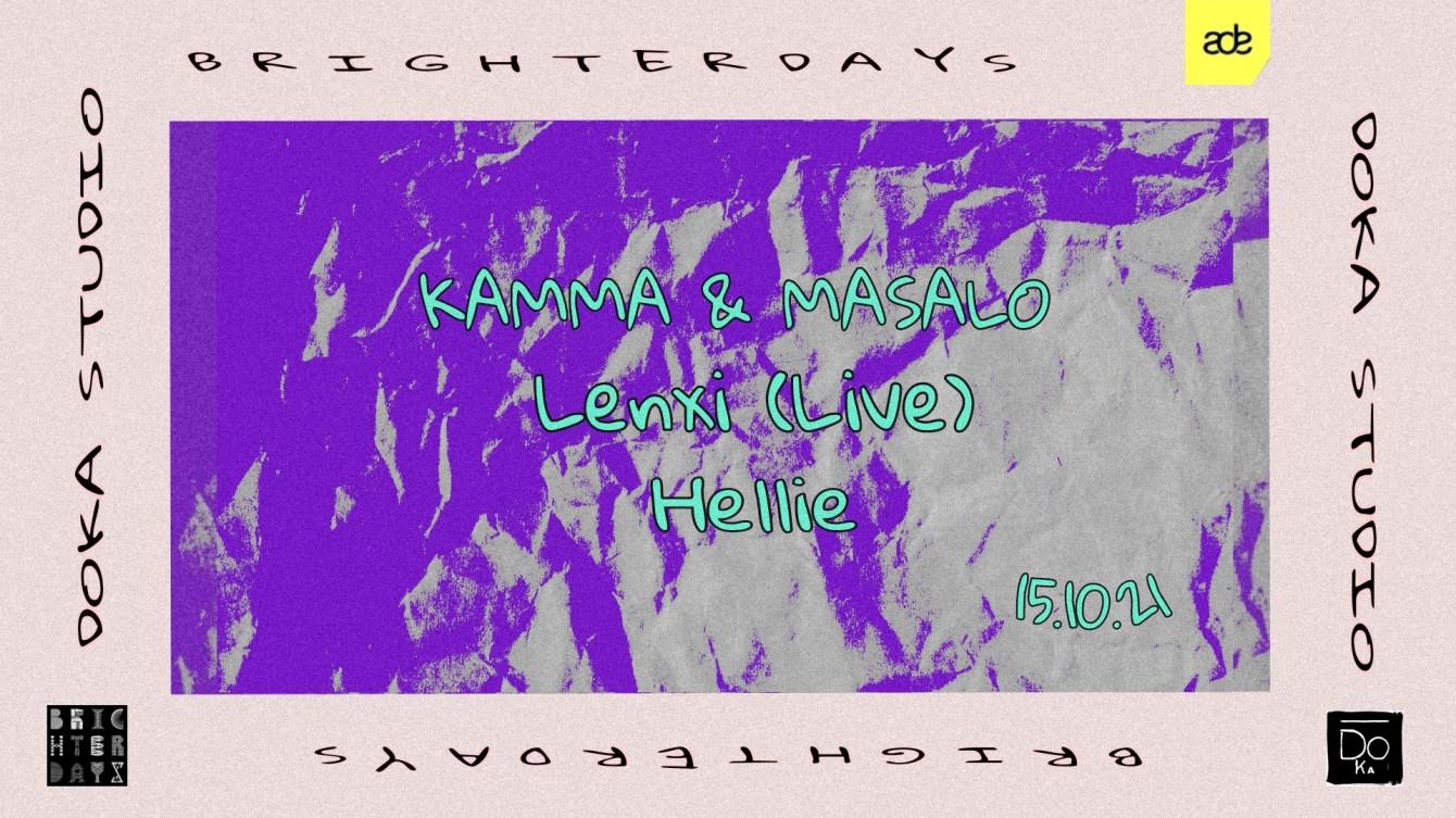 ADE - Brighter Days - Kamma & Masalo, Lenxi (Live), Hellie - Flyer front