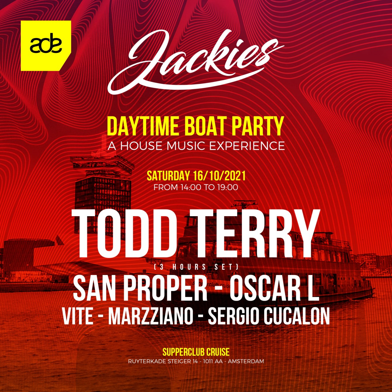 JACKIES ADE pres: Boat Party with Todd Terry & San Proper - Flyer front