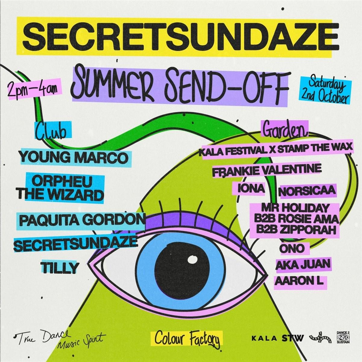 Secretsundaze Summer Send-Off - Flyer back