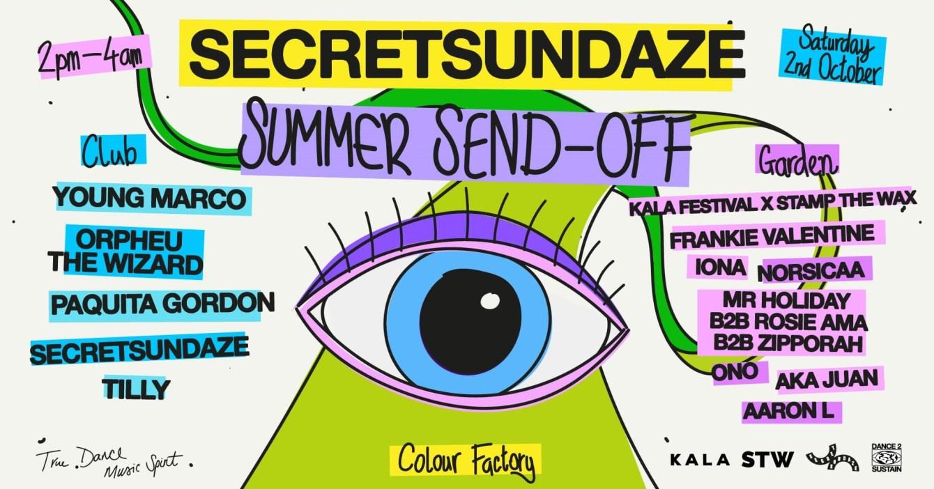 Secretsundaze Summer Send-Off - Flyer front