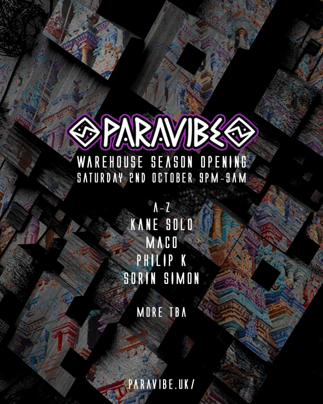 Paravibe - Warehouse Season Opening Party, East London - Flyer front