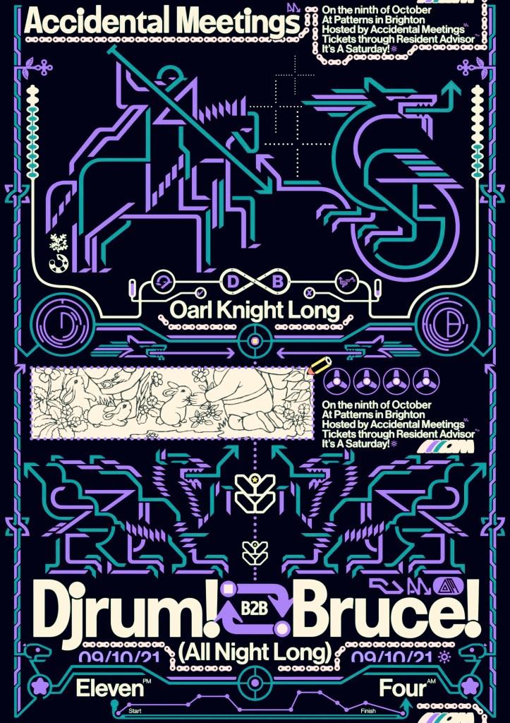 Accidental Meetings: DjRUM b2b Bruce (All Night Long) - Flyer front