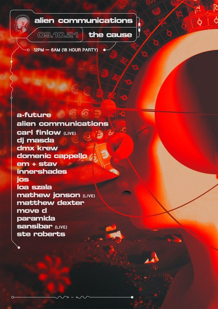Alien Communications: Mathew Jonson (Live), Move D, DJ Masda, Paramida, Sansibar & DMX Krew - Flyer front