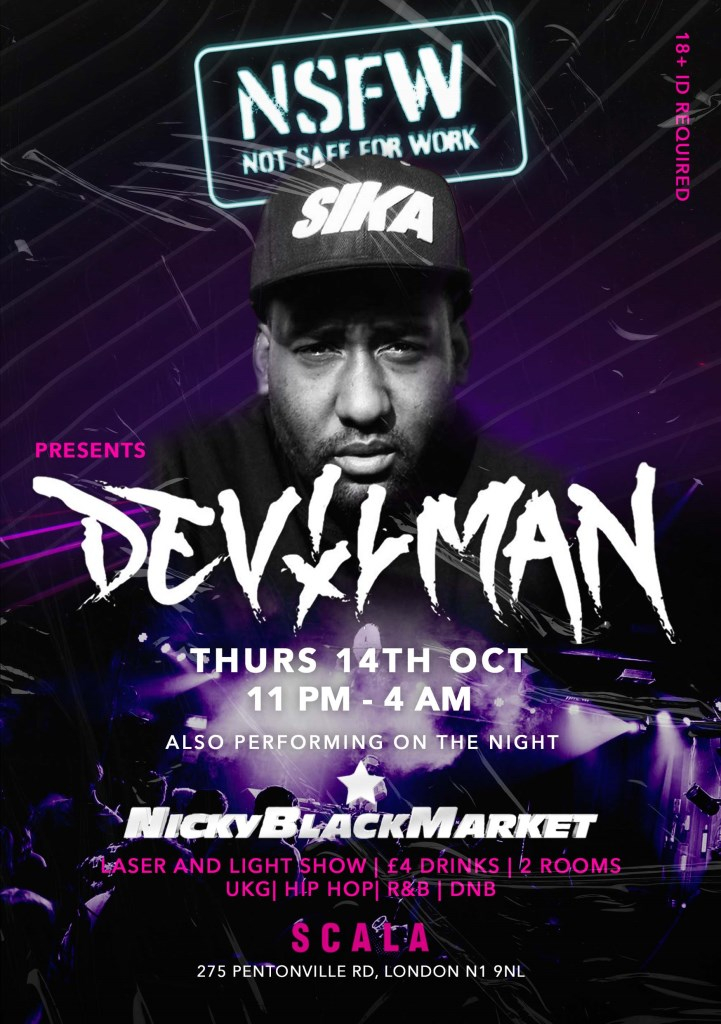 NSFW London Rave at Scala - 14th Oct // Nicky Blackmarket // Devilman - Flyer front