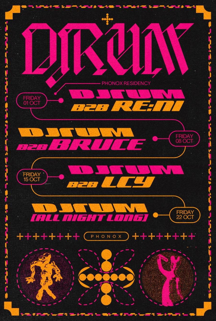 DjRUM [4 Fridays at Phonox] b2b LCY - Flyer front