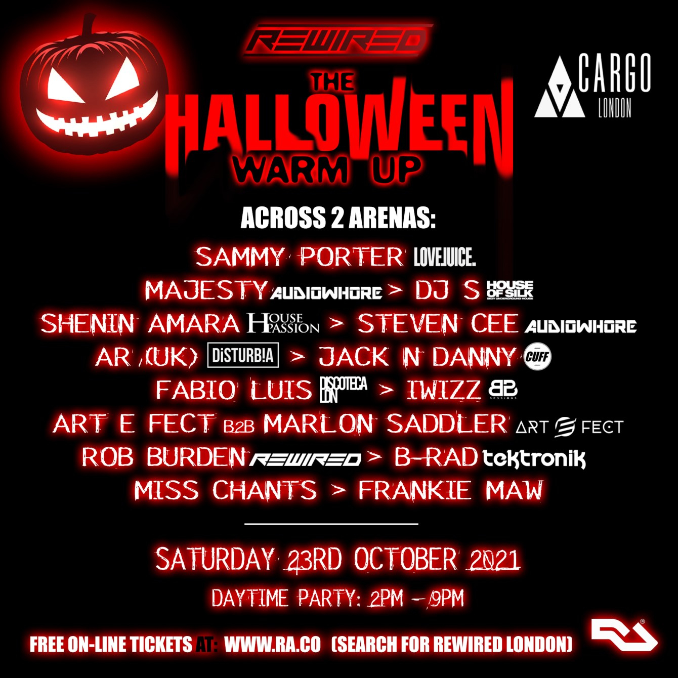Rewired Halloween Warm Up: Day Party: Free Tickets - Flyer front