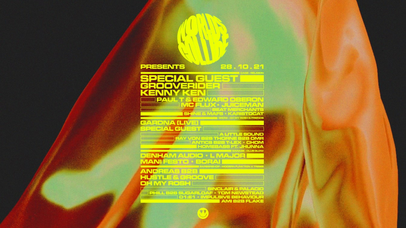 Worlds Collide Halloween Special with Special Guests, Grooverider, Kenny Ken, Gardna & More - Flyer back