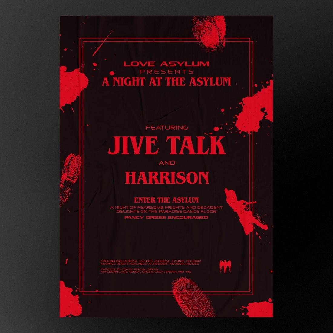 A Night at the Asylum (Feat. Jive Talk) - Flyer back