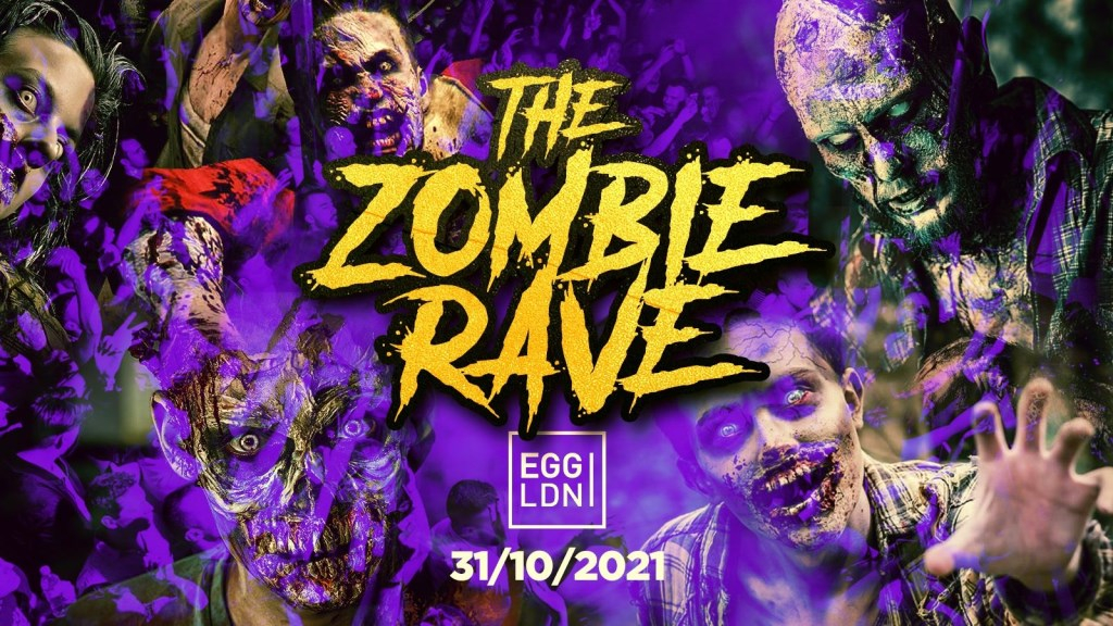 The Zombie Rave - Halloween Student Party - Flyer front